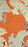 Liora Manne Ravella Ornamental Leaf Border Rug, 5-Feet by 7-Feet 6-Inch, Orange