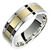 Allegra - Stunning Two Tone Comfort Fit Wedding Band for Him and Her Custom Made Choose your Size.