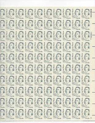 George Mason Sheet of 100 x 18 Cent US Postage Stamps NEW Scot 1858