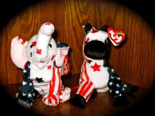 Ty Lefty 2000 and Righty 2000 Beanie Babies - 1