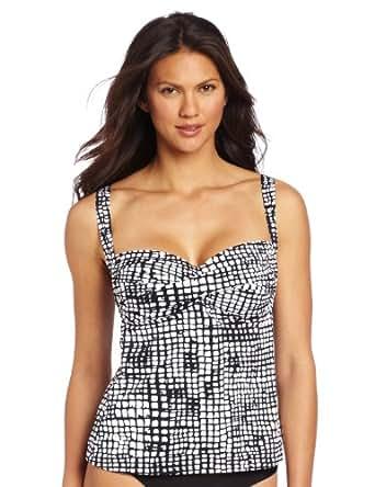 Jones New York Women's Twist Front Halter Tankini, Black/White, 10