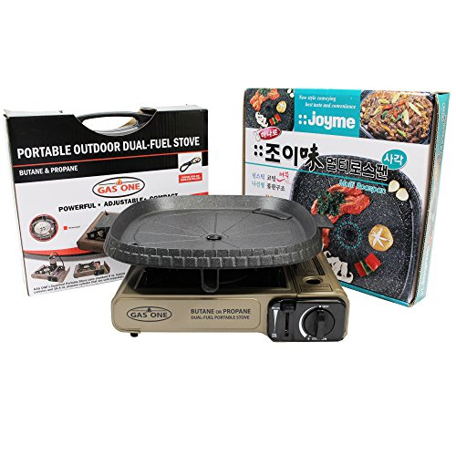 GAS ONE NEW GS-3400P Dual Fuel Portable Propane & Butane Camping and Backpacking Gas Stove Burner with Stove Top Grill and Carrying Case (GOLD) (Stove Top Gas Grill compare prices)