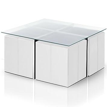 0 0table basse cali verre blanc blanc givr et ses 4 - Table basse encastrable ...