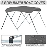 """3 Bow 6' FT Bimini Boat Cover Top 67""""-72"""" Grey Includes Hardware with Hood"""