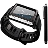 Black Cool Aluminum Bracelet Watch Band Wrist Band for iPod Nano 6 Cover Case
