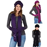 Ladies Macie Winter Accessory Set - Beret Scarf Gloves Smooth Knit With Sequins