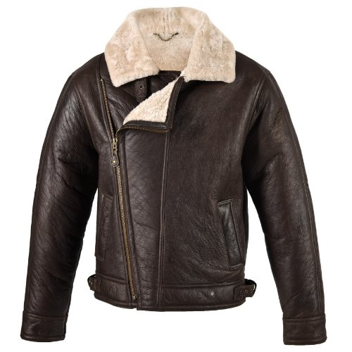Men's sheepskin aviator flying jacket in Chocolate forest colour 44