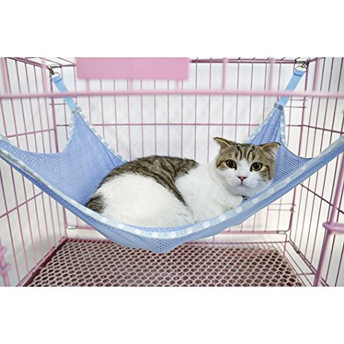 DZT1968(TM)Summer Breathable Mesh Cloth Hammock Bed For Pet Cat (L, Blue)