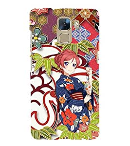 Fuson Premium Back Case Cover Cute Chinese girl With red Background Degined For Huawei Honor 7