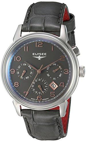 Elysee Vintage Calendar reloj para hombre de gris/plata con correa de cuero Negro