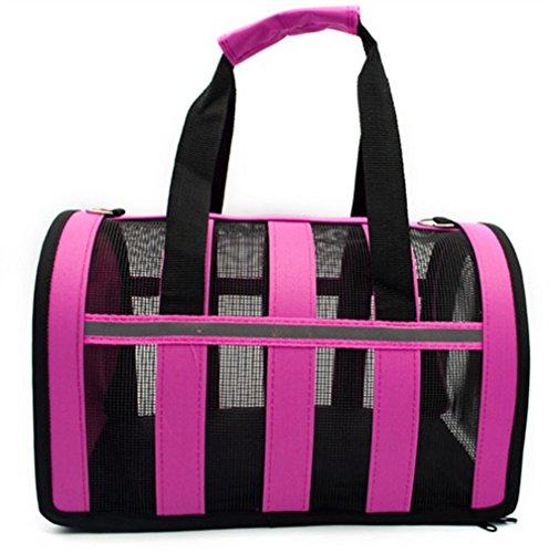 Folding Pet Carriers Dog Cat Soft Travel Tote Bag Checkered Travel Cage Dog Bag Pet Box Portable Pet Bag (Rose, Small)
