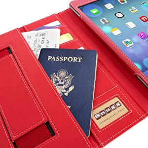 Snugg iPad 2 Case - Executive Smart Cover With Card Slots & Lifetime Guarantee (Red Leather) for Apple iPad 2