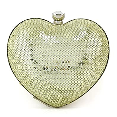 Your Gallery Women's Bling Heart Shape Sequin Hard Box Clutch Purse for Cocktail