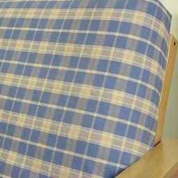 Sky Blue Plaid Futon Cover Full 77