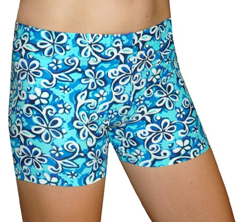 Spandex Shorts - Floral Print in 2.5 or 3 Inch Inseam(For Girls or Women)