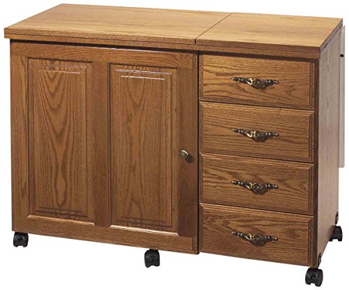 Sewingrite 6900 Cabinet with 4 Drawers and a Electric Lift, Honey Oak primary