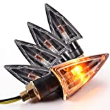 4x UNIVERSAL Motorcycle Motorbike Turn Signal Indicators Amber Light Lamp Bulb Clear Lens (General Bulb QZ-006)
