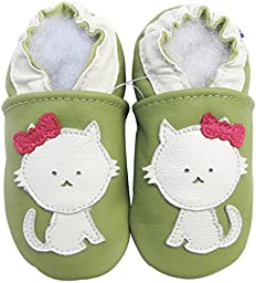 Carozoo baby girl soft sole leather infant toddler kids shoes Cat Green 5-6y
