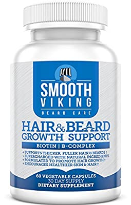 Hair and Beard Growth Support - Men's Facial Hair Supplement - 5000 MCG of Biotin - Vitamins A, C - DHT Blocker Hair Loss Treatment - Use With Smooth Viking Beard Oil, Balm, Conditioner - 60 Capsules