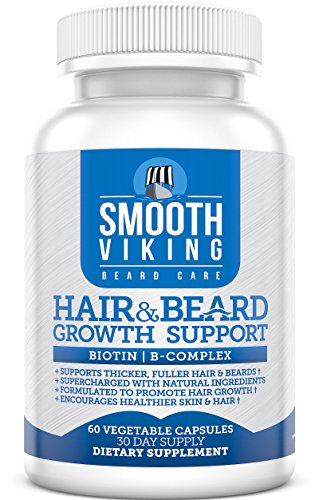 Hair and Beard Growth Support - Men s Facial Hair Supplement - 5000 MCG of Biotin - Vitamins A, C - DHT Blocker Hair Loss Treatment - Use With Smooth Viking Beard Oil, Balm, Conditioner - 60 Capsules