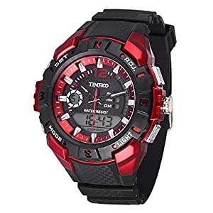 TIME100 Multifunction LCD Dual-time Display Silicone Strap Red Outdoor Sports Digital Watch #W40111G.01A
