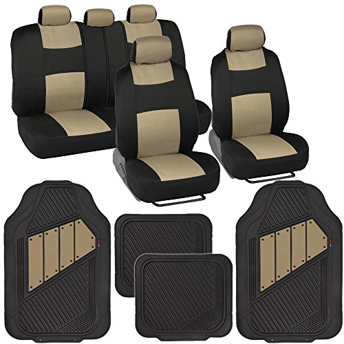 Two-Tone PolyCloth Car Seat Covers w/ Motor Trend Dual-Accent Heavy Duty Rubber Floor Mats - Black/Beige (Mazda 3 2005 Car Seats compare prices)