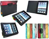 EMARTBUY APPLE IPAD 2 WI-FI 3G ( ALL VERSIONS ) MULTI-COLOURED WOOD EFFECT MULTIFUNCTIONAL / MULTI ANGLE WALLET / COVER / STAND / TYPING CASE WITH MAGNETIC SLEEP WAKE SENSOR FUNCTION