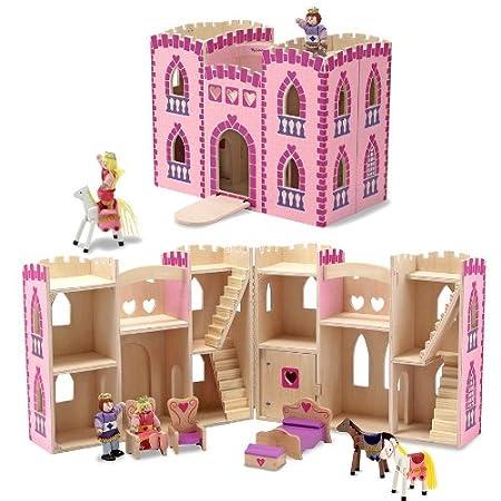 Château de Princesse en bois avec figurines et meubles 10 pcs Maison de poupées