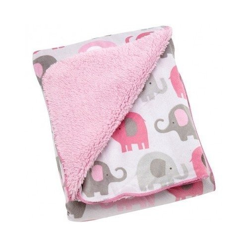 Little Bedding By NoJo Elephant Time Velboa Blanket, Pink - 1