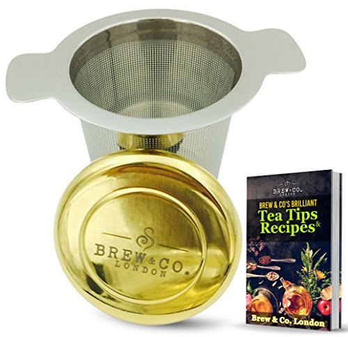 Rare Elegant Loose Tea Infuser - Gold Coated Drip Tray Lid - Extra Fine Mesh Stainless Steel Strainer - Multi Cup Filter with Large Scoop Capacity - Perfect Diffuser for Mugs, Single Cups or Teapot (Single Serving Teapot compare prices)