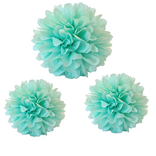 12PCS Mixed Size Mint Green Party Tissue Pom Poms Wedding Bridal Shower Party Fluffy Decoration
