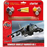 Airfix 1:72 Hawker Harrier GR1 Starter Aircraft Model Set (Medium)