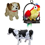 A R Enterprises Combo Of Talking Parrot, Jumping Dog & Walking Cow,Multicolor