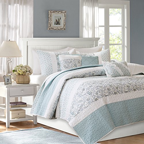 Madison Park MP13-2802 Dawn 6 Piece Quilted Coverlet Set, King/California King, Blue (Blue Quilt California King compare prices)