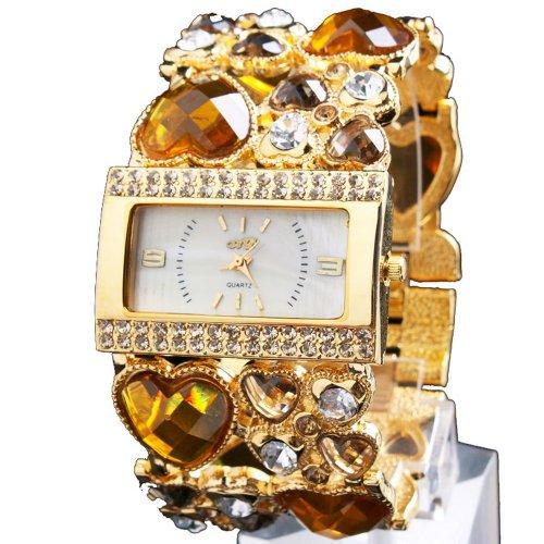 Yesurprise Fashion Luxury Women Diamond Crystal Analog Bungle Wedding Bracelet Watch Yellow Crystal Golden Face