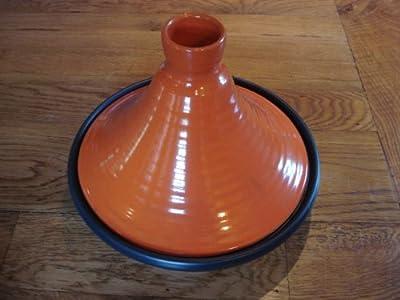 Orange Glazed Terracotta Tagine With Black Base 28 Cms Dia by Spanish