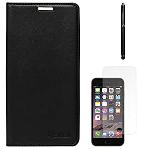 Lishen Premium Quality Leather Stand Flip Cover Case For Apple iPhone 6 Plus (Black) + Matte Screen + Stylus