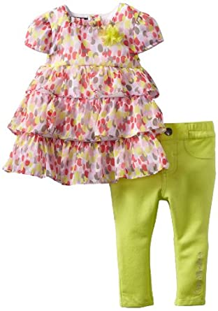 Calvin Klein Baby-girls Infant Print Ruffled Tunic with Pants, Yellow, 12 Months