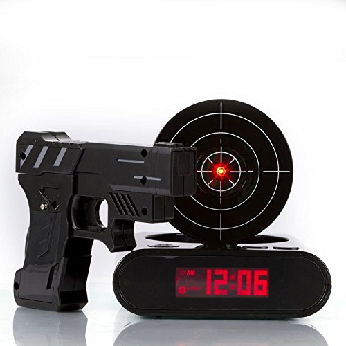赤外線シューティング型 目覚まし時計 ガン アラーム クロック 録音 機能 搭載 お寝坊さんへのプレゼントに(ブラック)