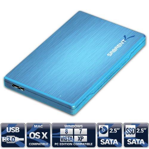 Sabrent Premium Ultra Slim 2.5-Inch SATA to USB 3.0 External Aluminum Hard Drive Enclosure Blue (EC-ALBL)