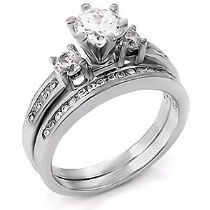 Stunning 1.31ct Sterling Silver Russian Ice on Fire Diamond CZ Womens 2 Piece Engagement and Wedding Band Ring Set, sz 6.0, Lakoda