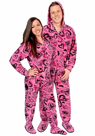 Sketchy hearts hooded fleece adult footed pajamas with drop seat 3 at