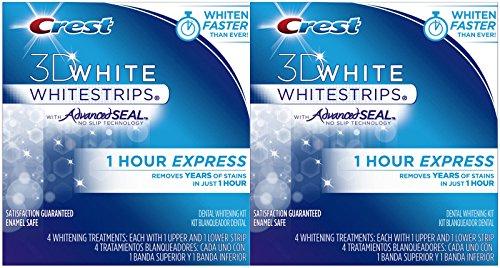 Crest 3D White 1-HR Express Whitestrips Dental Whitening Kit - 4 ct - 2 pk