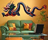 "Stickerbrand© Asian Décor Vinyl Wall Art Chinese Dragon Printed Graphic Wall Decal Sticker - Vivid Color Print, 20"" x 52"". Easy to Apply & Removable."