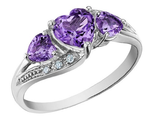 Amethyst Heart Ring with Diamonds 1.13 Carat (ctw) in 10K White Gold, Size 7.5