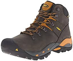 KEEN Utility Men\'s Cleveland Soft Toe Engineer Boot, Raven/Inca Gold, 13 D US