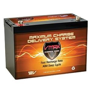 VMAX MR127 12 Volt 100Ah AGM Deep Cycle SLA Maintenance Free Battery ideal for boats and 40-100lb minn kota, minnkota, cobra, sevylor and other trolling motor (12V 100AH, GROUP 27 Marine Deep Cycle AGM Battery)