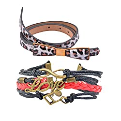 Diovanni Combo of Multi Color Bracelet and Belt For Womens