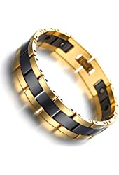 Kstyle Jewelry Tungsten Magnetic Hematite Mens Bracelet black & gold 7.8""