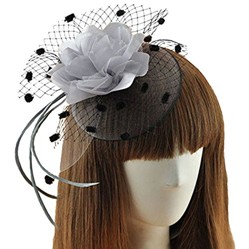 Coolwife Womens Fascinator Veil Flower Cocktail Tea Party Headwear (Grey) (Tiny Hat Hair Clip compare prices)